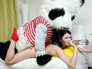 Romp with drunk girl in red underwear