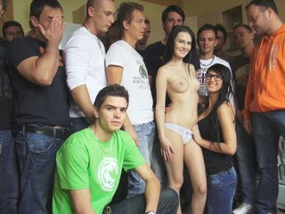 Czech gangbang orgy - too many cocks..