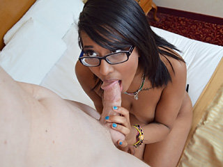 Teen nerd cutie Diana Love gets banged by a white long cock